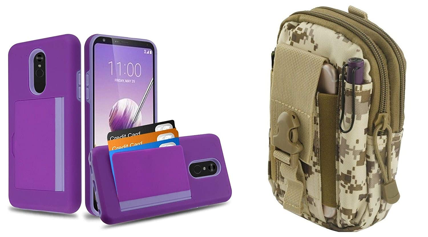 Pocket Hybrid Series 3 Card Storage Compartment Wallet Case Compatible with LG Stylo 5 (Purple/Lavender) with Tactical Travel Pouch (Desert Pixel Camo)