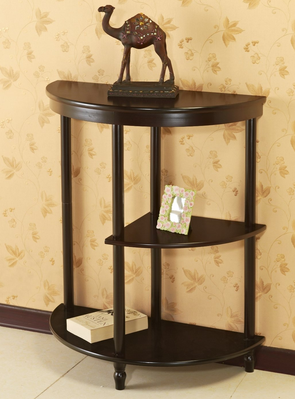 Hall Half Moon Console Table//End Table Frenchi Furniture Cherry 3-Tier Crescent