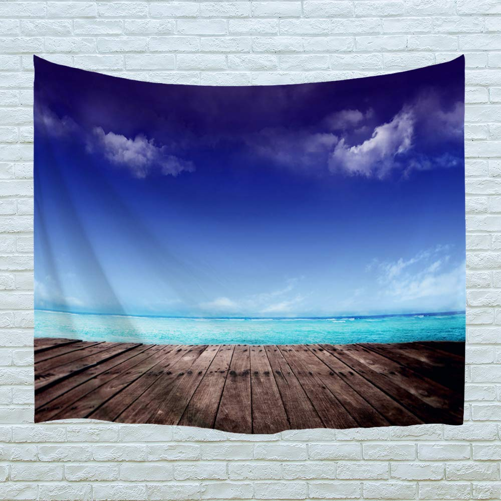XINYI Home Wall Hanging Nature Art Polyester Fabric Coast Beach Theme Tapestry, Wall Decor for Dorm Room, Bedroom, Living Room, Nail Included - 80'' W x 60'' L (200cmx150cm) - Blue Seaside Wood Stack 1