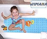 Wimaha XL Bathtub Mat, Bath Shower Mat Non Slip for Bathroom, Machine Washable, Ideal for Kids Toddler Senior, 39 x 16, Clear Sky Blue