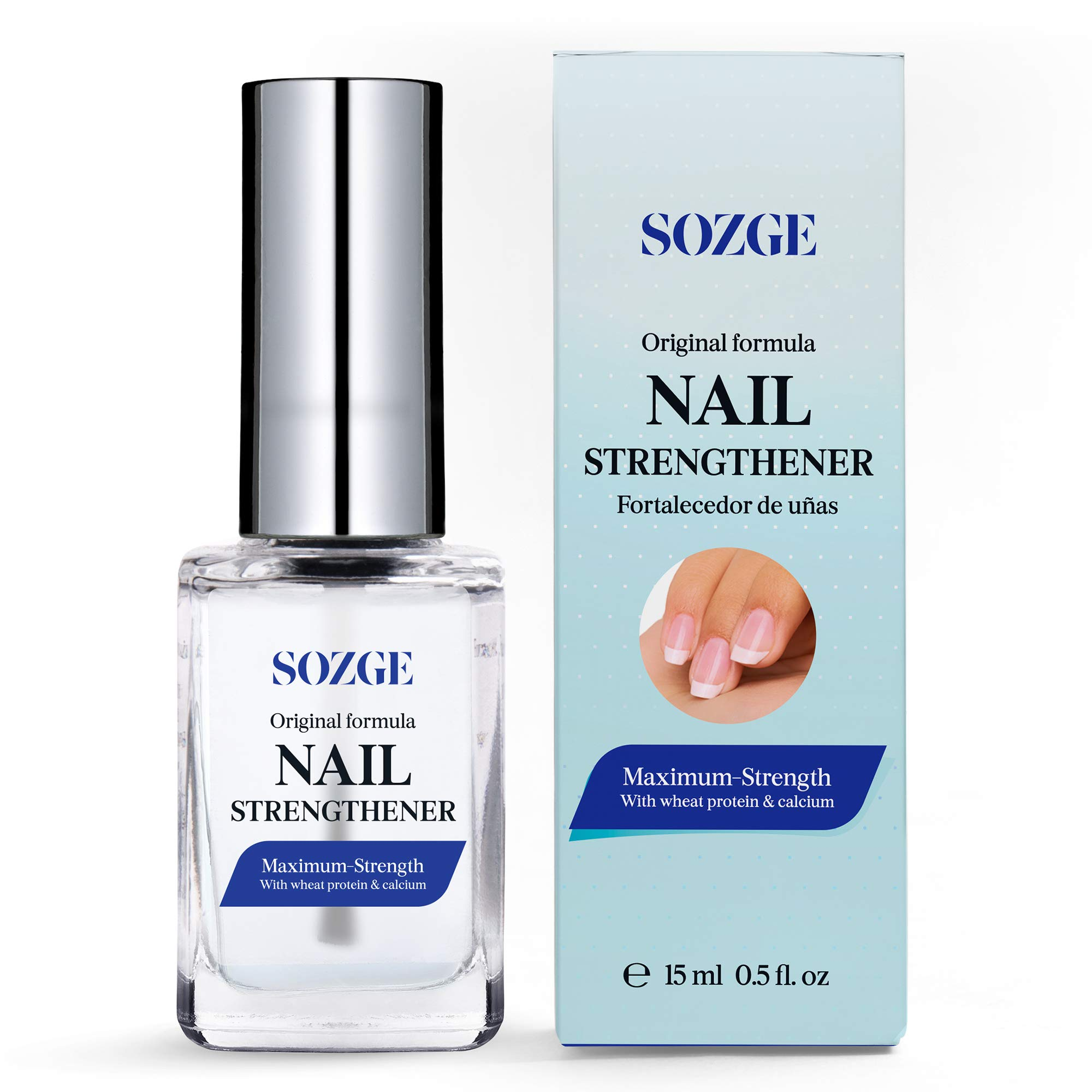 SOZGE Nail Strengthener for Treating Weak, Damaged Nails, Promotes Growth, Use as a Top Coat or Base Coat by SOZGE
