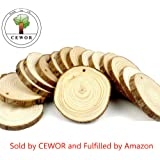"""CEWOR 15pcs 3""""-3.5"""" Natural Wood Slices Unfinished Predrilled Round Discs Tree Bark Wooden Circles for DIY Crafts"""