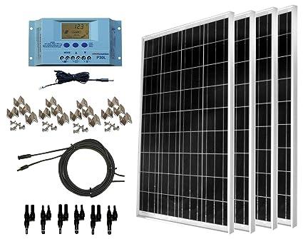 windynation 400 watt solar kit: 4pcs 100 watt solar panels + 30a p30l lcd  pwm
