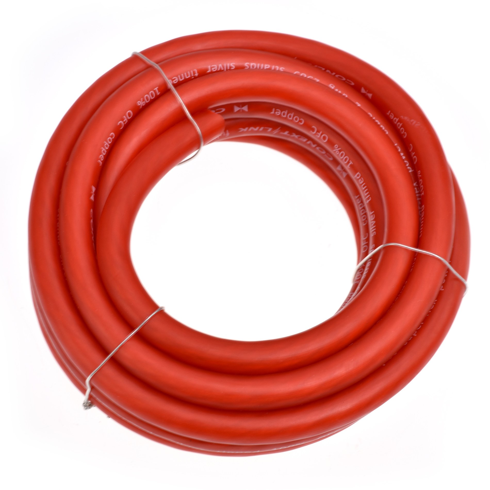 Conext Link 15 FT 2 AWG GA Full Gauge Battery Power Cable Ground Wire Frost Red OFC Copper