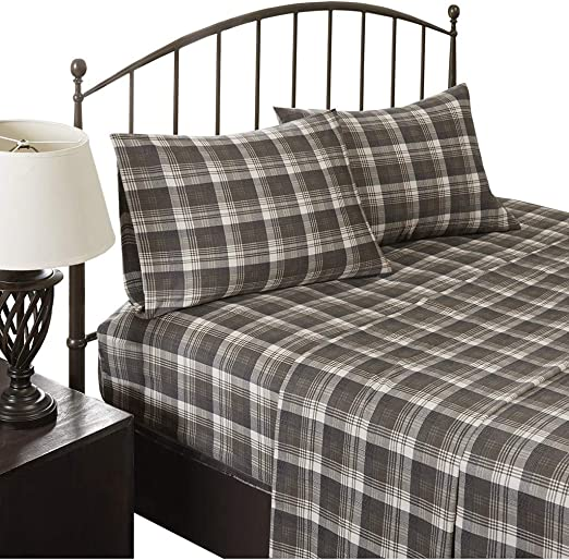 Amazon Com Woolrich Flannel Cotton Sheet Set Brown Plaid Queen Home Kitchen