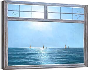 Ocean Wall Decor for Bedroom Wall Decoration 12x16Inch with Frame Sailboat in The Sea Window Art Living Room Decor Blue Sky Wall Picture Aesthetic Beach Bathroom Painting Canvas Prints Artwork