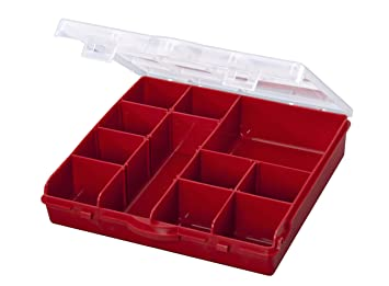 Stack On SBR 13 13 Compartment Storage Organizer Box With Removable  Dividers, Red
