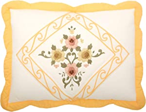 BrylaneHome Ava Embroidered Cotton Sham - King, Dandelion Yellow