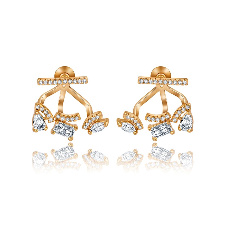 Beydodo Stud Earring Rose Gold Gold Plated Earrings for Babies Pear Cut Cubic Zirconia Earrings
