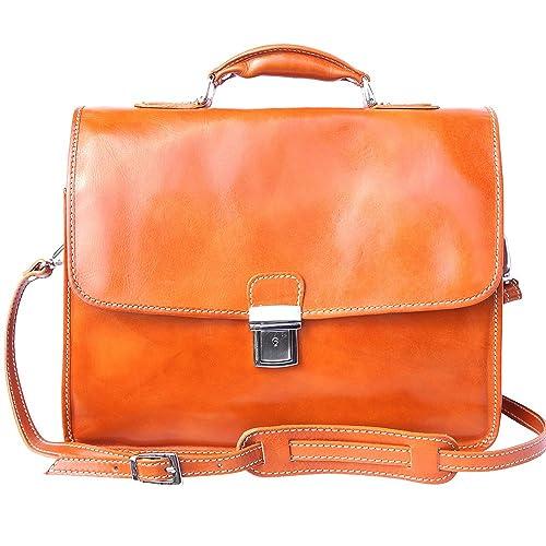 Florence Leather Market Cartera de cuero con compartimento para portátil. 3 compartimientos 7615 (Bronceado