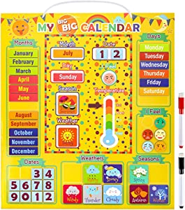 Daily Magnetic Calendar Preschool Learning Toys Weather Station for Kids Girls Boys Moods Emotions Classroom Calendar Set Usable on Wall or Fridge With 48 Magnetic Blocks, 2 Pens, 1 Lanyard, etc.