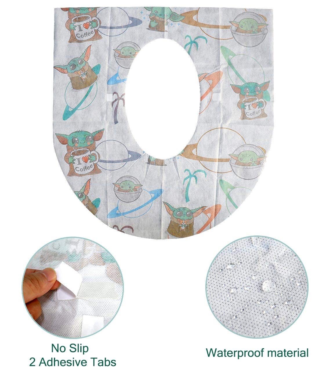 Easy to Carry-Portable with Non-Slip Adhesives-Waterproof Toilet Seat Covers Disposable Toddlers 20 Pack for Adults and Kids! Perfect for Travel and on The go