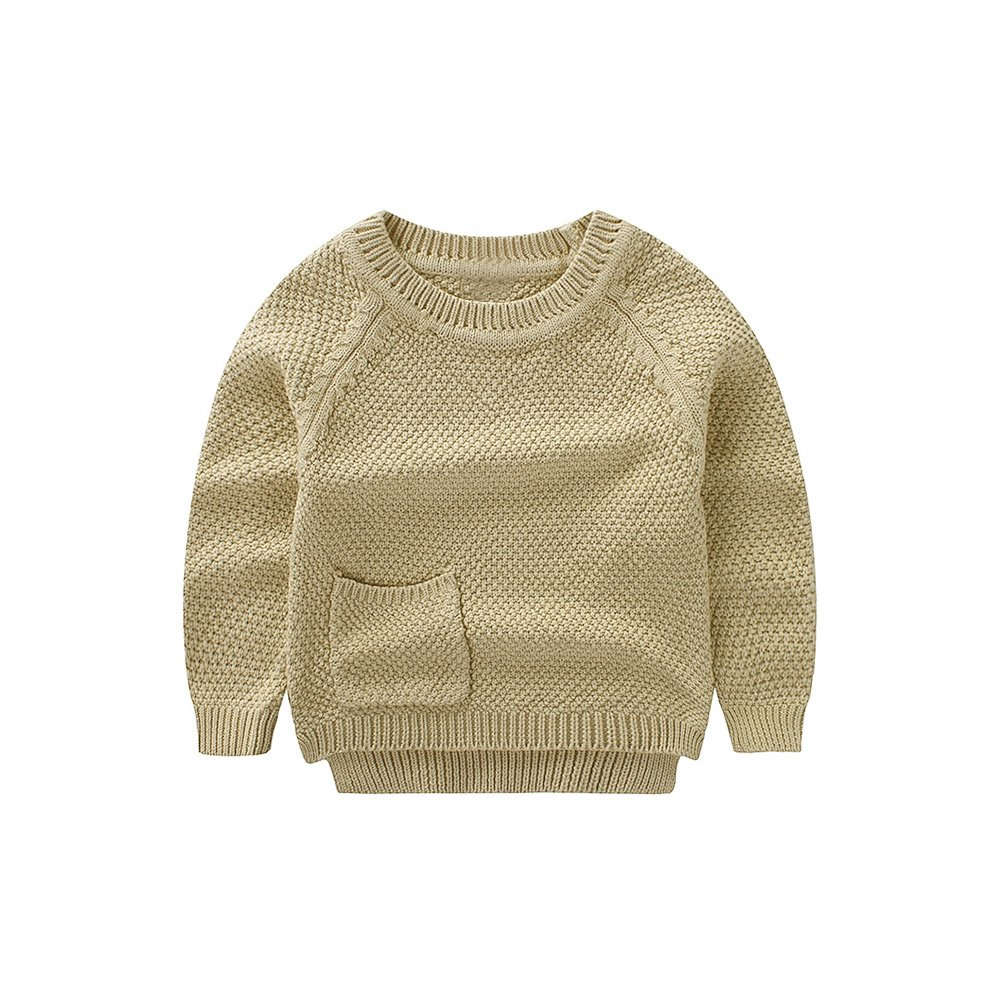 WeddingPach Baby Boys Girls Crochet Sweater Infant Kids Cotton Cardigans Casual Pullover 6M-4T (3T, Khaki) by WeddingPach