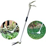 Sungmor Garden Servo-system Grass Shear | 46 Inch Long Handled Lawn Edging Shear | 360°Adjustable Swivel Head and Removable Wheels Stand-up Pruning Shears