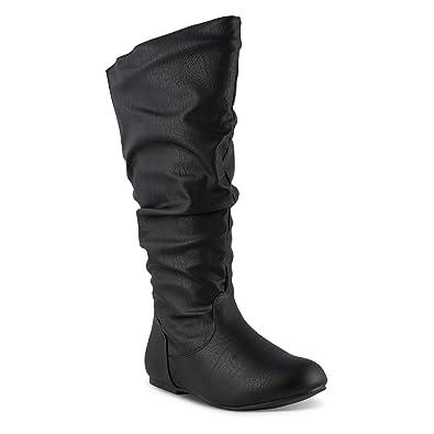 bea36de91c198 Twisted Women's Shelly Wide Width/Wide Calf Faux Leather Knee-High Scrunch  Flat Riding Boot