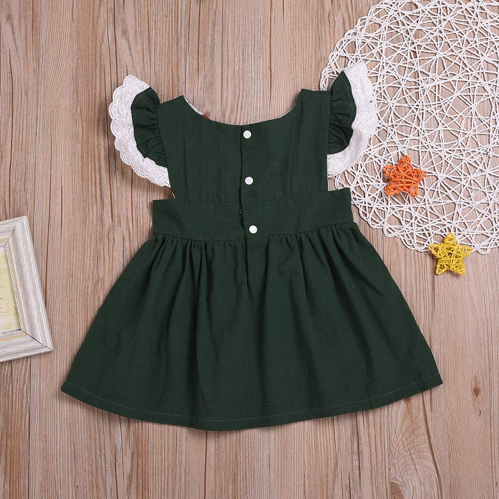 Toddler Baby Girl Clothes Floral Dress Lace Ruffle Sleeve Sundress Birthday Party Princess Formal Outfit