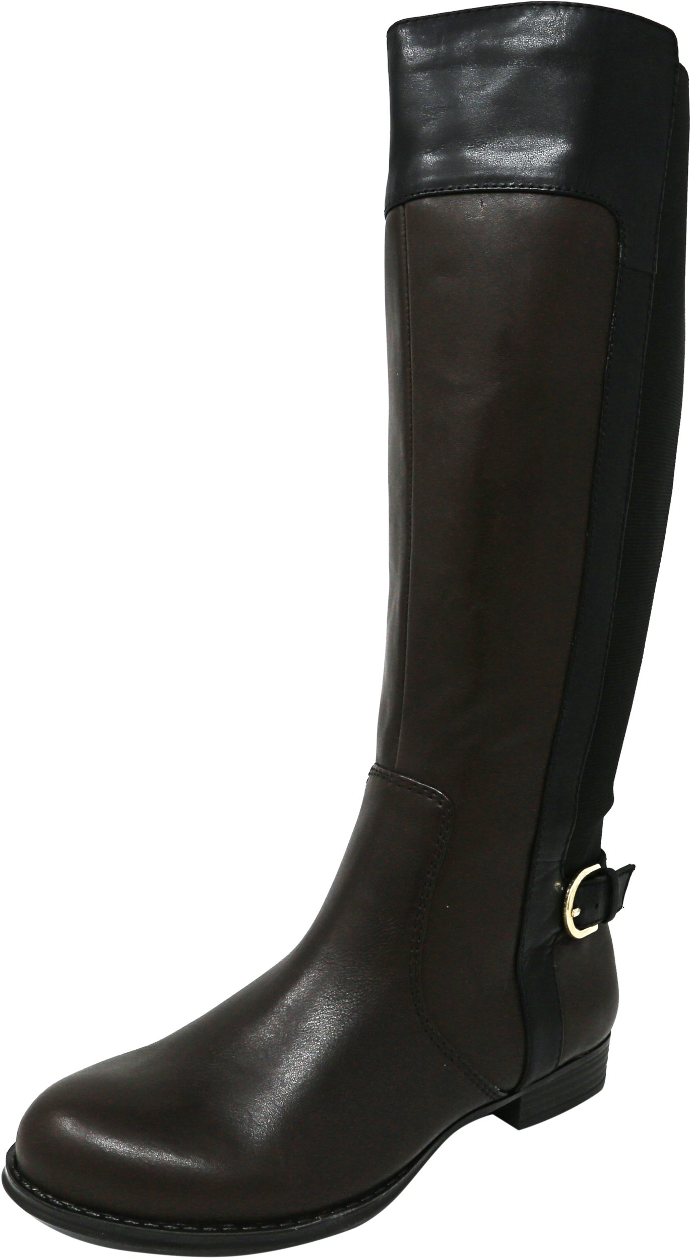 Isaac Mizrahi Live Women's Toby Leather Brown Multi Knee-High Equestrian Boot - 6W