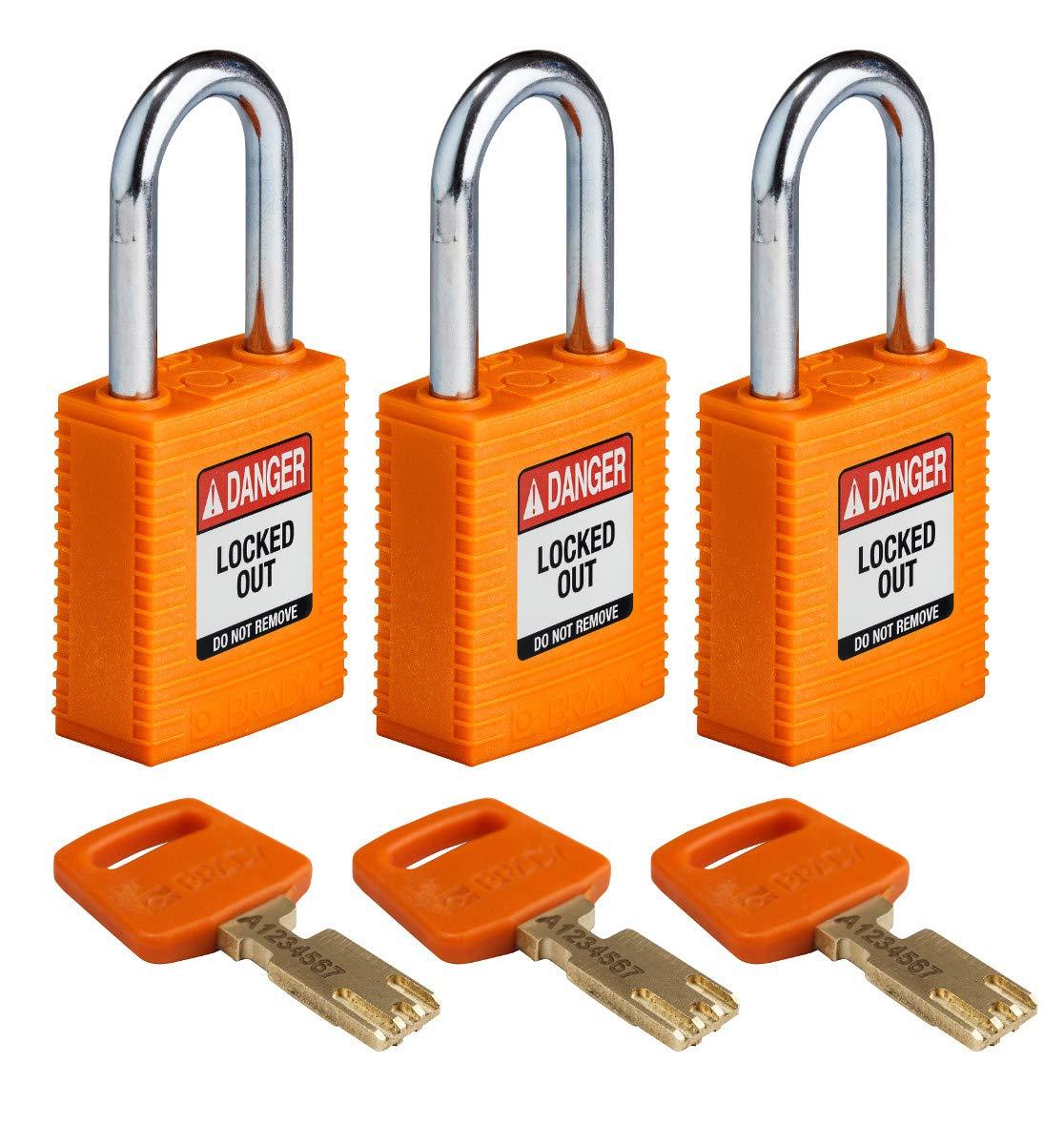Brady SafeKey Lockout Padlock - Nylon - Orange - 1.5'' Steel Shackle Vertical Clearance - Keyed Alike (Pack of 3)