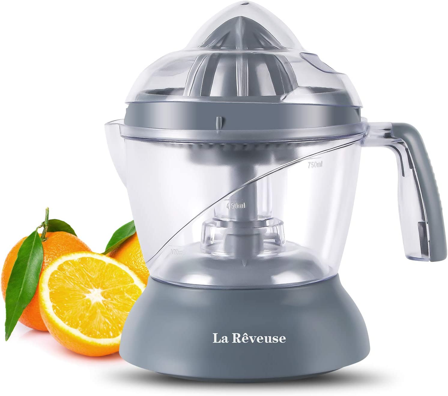 La Reveuse 25 oz/750 ml Electric Citrus Juicer for Grapefruit Orange Lemon Lime Juice, Grey