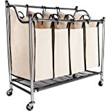 Bonnlo 4-Bag Laundry Sorter Cart Heavy-Duty Rolling Sorting Hamper with Removable Bags & Wheels, Chrome/Beige