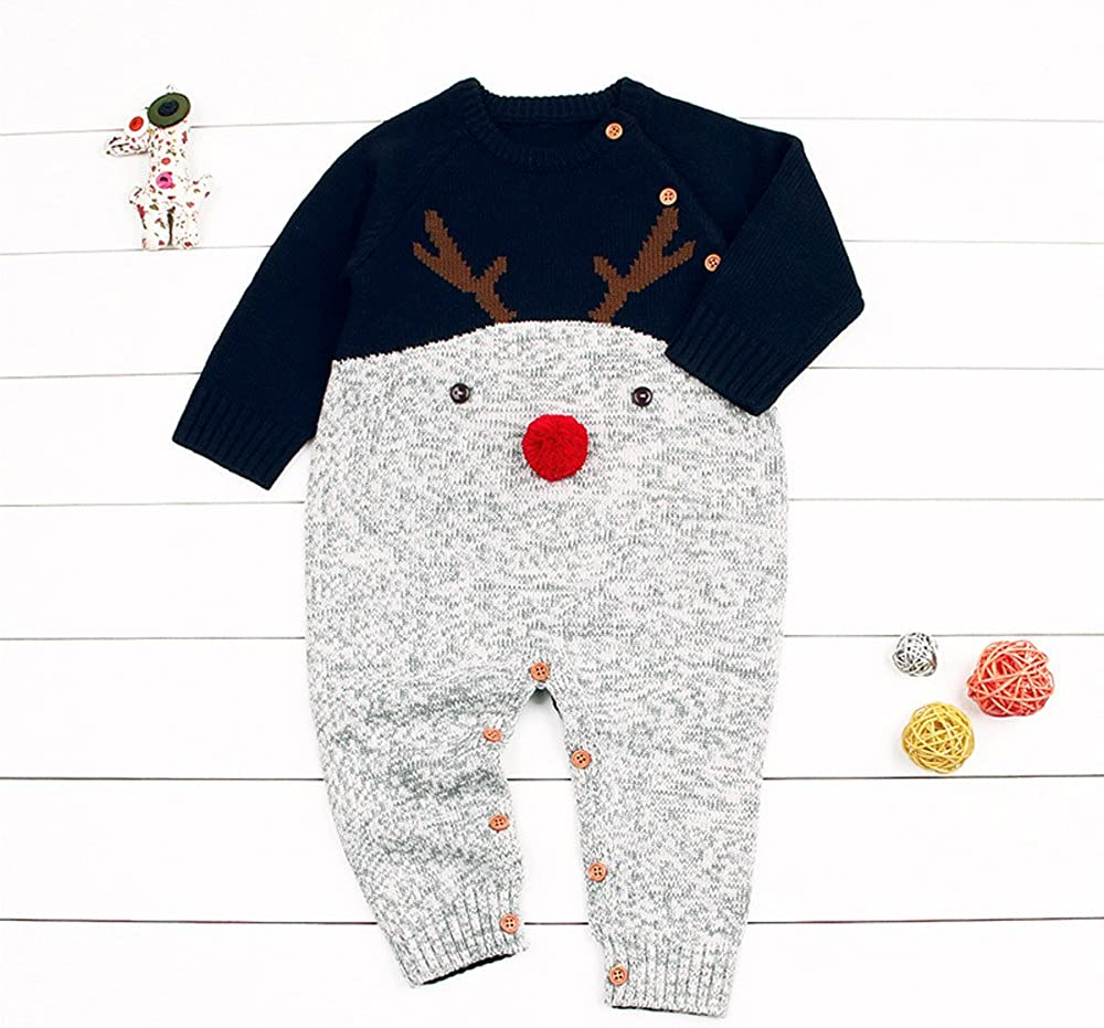 Featurestop Infant Christmas Knitted Cotton Pajamas 6 Months-2 Toddler