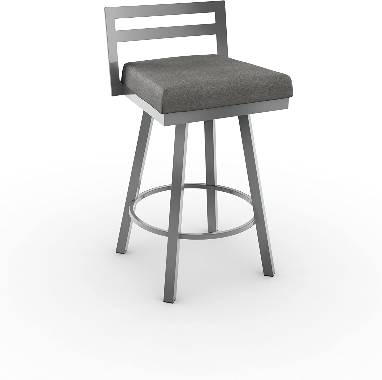Amisco Amisco Derek Swivel Counter Stool 26 In Magnetite Frame Cloud Fabric Seat Metal Furniture Decor Amazon Com