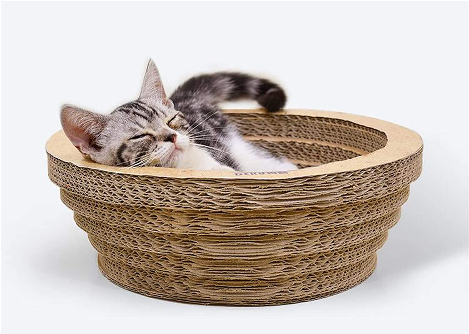 Large Cat Toy,Corrugated Paper Bowl Round Nest Pot Give Catnip Large Wear Resistant Simple Trapezoidal Design,Two Sizes