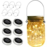 ZNYCYE Solar Mason Jar Lights, 6 Pack 30 Led String Fairy Star Firefly Jar Lids Lights, Jars Not Included, Best for Mason Jar