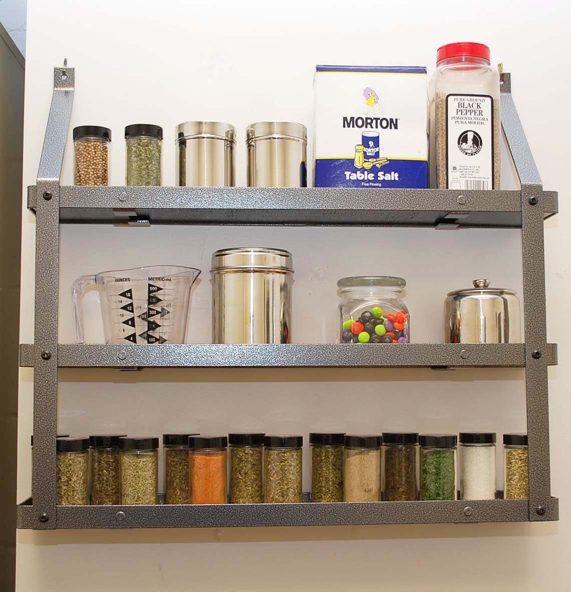 Three Tier Spice Rack: Hammered Steel & Black Wood by Rogar (Image #1)