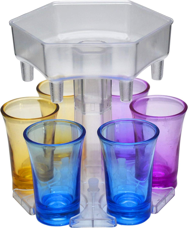 FuChIpnTco Shot Buddy Dispenser, 6 Shot Glass Dispenser and Holder Six Ways, Drink Beverage Dispenser for Bar, Shot Dispenser for Shot Glasses, Carrier Caddy Liquor Pour Dispenser, Hexagon