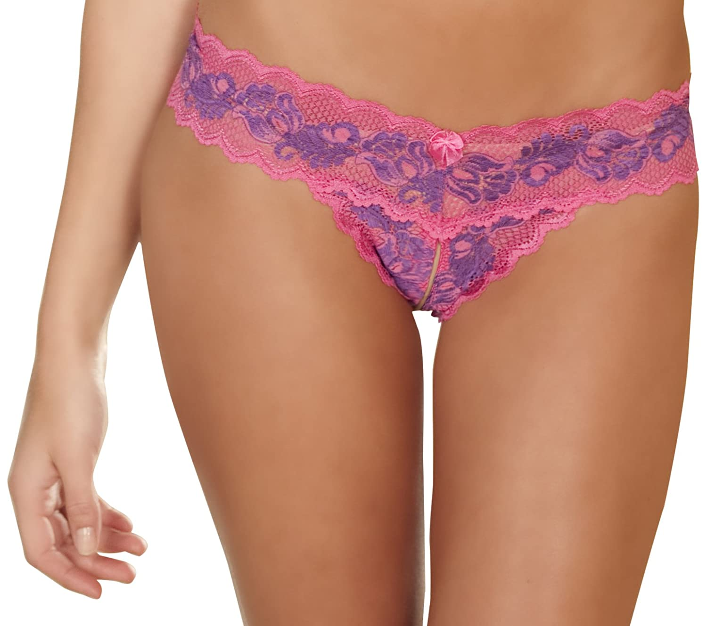 Rene Rofe Women's Crotchless Lace Thong Panty 1037-1