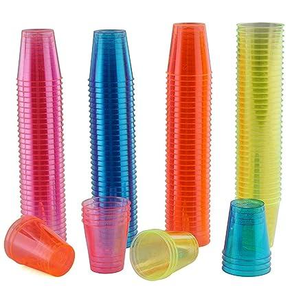 150 Vasos de Chupito Desechables de Plástico Duro - Neón Colorido 30 ml - Reutilizable,