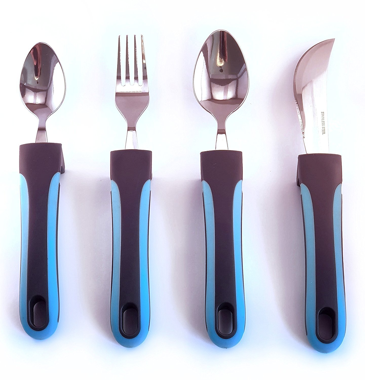 BUNMO Adaptive Utensils - Weighted Knives, Forks and Spoons Silverware Set for Elderly People, Disability, Parkinsons, Arthritis Aid, Handicapped, Hand Muscle Weakness, Large Grip Curved