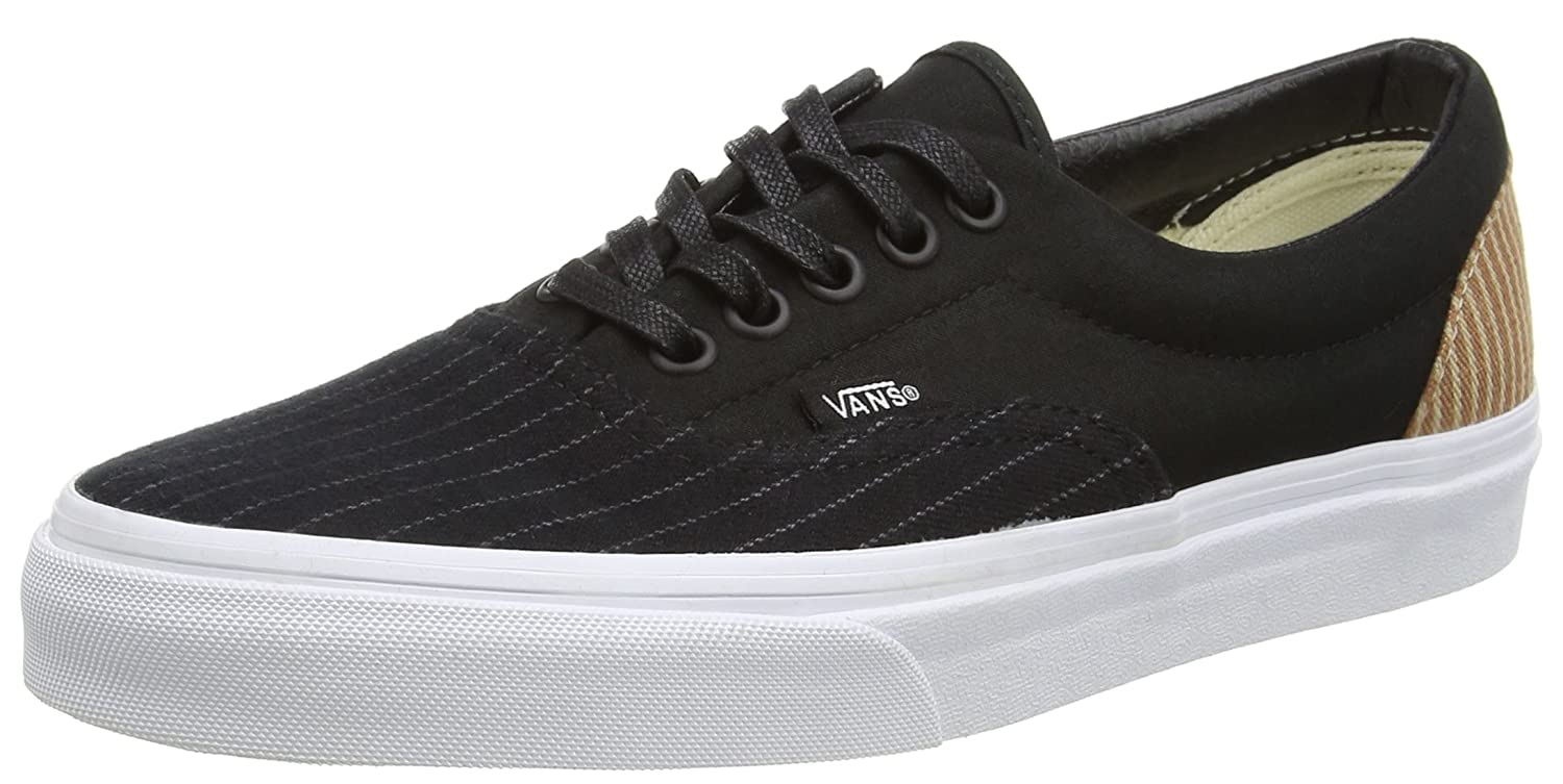 Vans Men's Era 2-Stripe Ankle-High Canvas Skateboarding Shoe 9 M US Women / 7.5 M US Men|Black/ True White