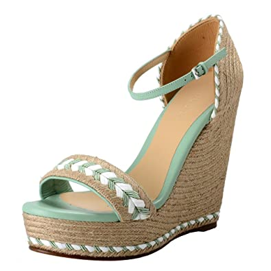 7a233b533efe7 Gucci Women's High Heel Wedges Ankle Strap Sandals Shoes US 9 IT 39 ...