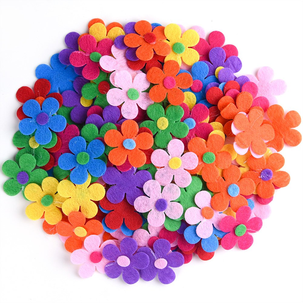 Coopay 120 Pieces Felt Flowers Fabric Flower Embellishments Assorted Colors for DIY Crafts 4336935025