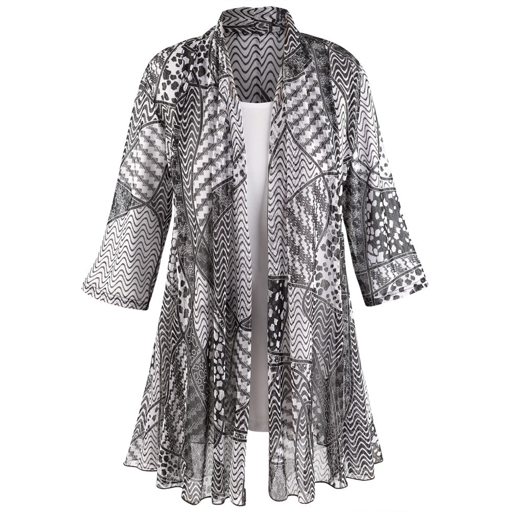 Women's Puzzle-Print Jacket with White T-Shirt Set - 3/4 Sleeves - 2X