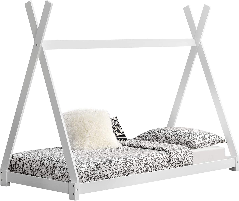 [en.casa] Cama para niños pequeños Cama Infantil 200 x 90cm Estructura Tipi de Madera Pino Blanco Mate