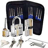Lock Pick Set, 24 Stuk Lockpicks Transparant Training Hangslot en Credit Card Lock Picking Tools kit, voor Beginner en…
