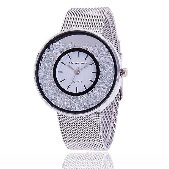 Way2bb - Reloj, estilo Swarovski, plata rodiada, regalo, 2018: Amazon.es: Relojes