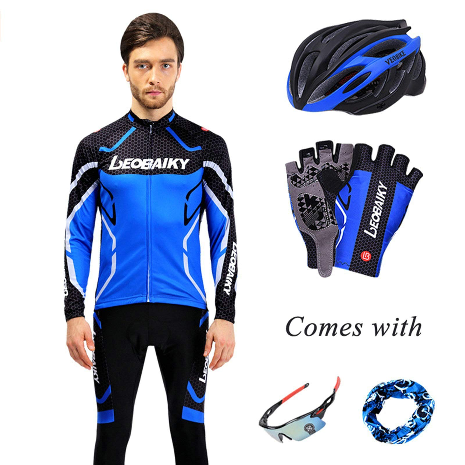 Aooaz Men's Biking Clothing Set Shirt Leggings with Helmet/Gloves/Goggles/Mask Blue S