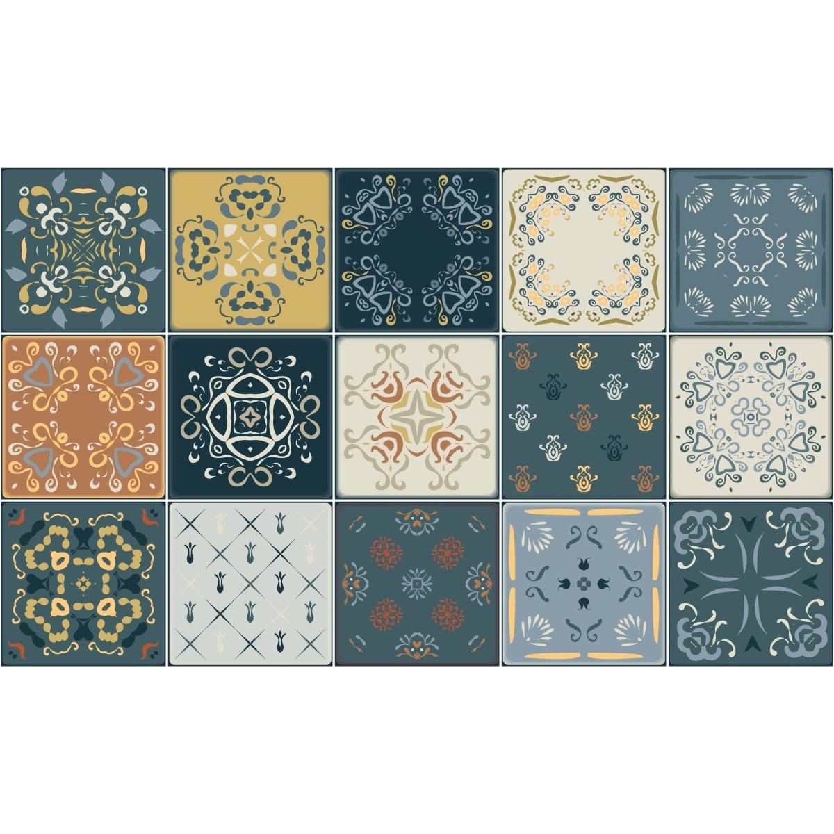 Set de 15 pi/èces 10 x 10 cm Stickers adh/ésifs carrelages Ambiance-Sticker