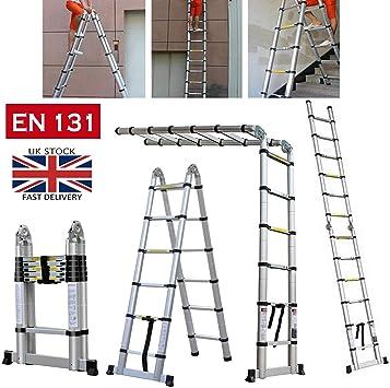Escalera telescópica multiusos, escalera extensible de aluminio plegable EN 131, plegable, telescópica, portátil, con patas de goma antideslizantes: Amazon.es: Bricolaje y herramientas