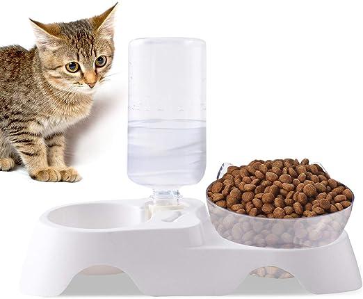 PETCUTE Comederos Gatos Perros Elevado Cuenco de Gato Tolva Bebederos Automaticos para Perros de Mascota ángulo con Base Alto Antideslizante Tazón del Alimento para Mascotas con hervidor de Agua: Amazon.es: Productos para