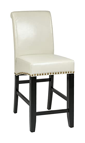 office star metro bonded leather bar stool with nailhead accents 24
