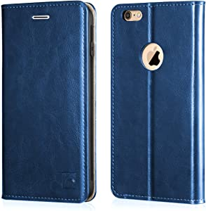 Belemay iPhone 6s Plus Case, iPhone 6 Plus Case, Genuine Leather Case Slim Wallet Flip Cover [Durable Soft TPU Inner Case] Card Holder Slots, Kickstand, Cash Pocket Compatible iPhone 6/6s Plus, Blue