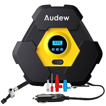 Audew Bomba de Compresor de Aire Portátil, Auto inflador de neumáticos (Digital, 12