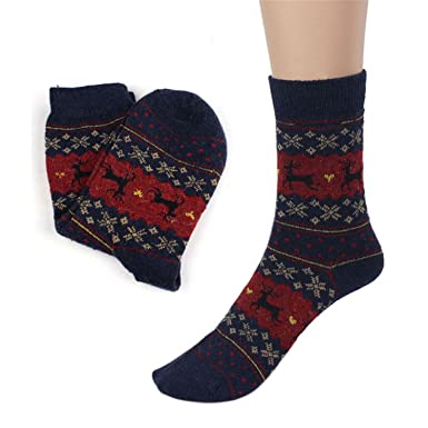 Socks Mens Cartoon Design Casual Knit Wool Socks Men Winter Shorts Socks Meias Calcetines Blue