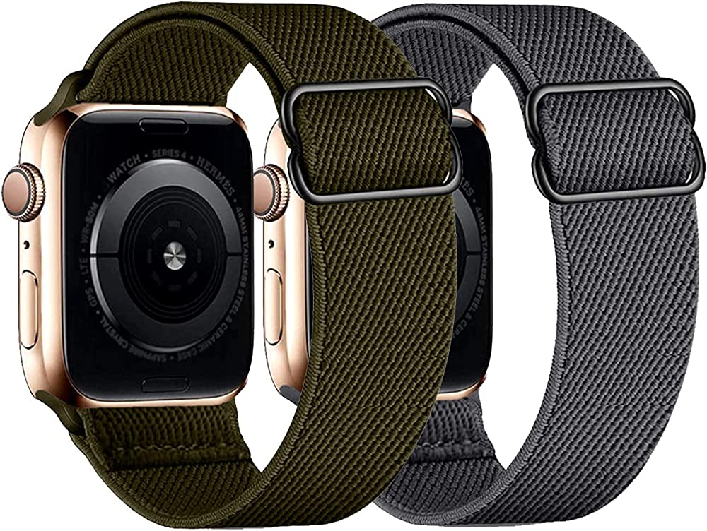 2 Pack Stretchy Nylon Solo Loop Bands Compatible with Apple Watch Bands 38mm 40mm 42mm 44mm, Adjustable Braided Sport Strap Women Men Wristband with iWatch Series 6/5/4/3/2/1/SE
