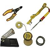 Adraxx 6 in1 Electric Soldering Iron Stand Tool Wire Stripper Kit 25 Watt Welding Stick Set